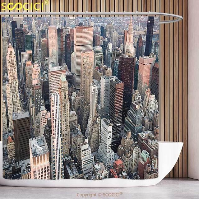 Polyester Rideau De Douche Urbain USA New York Paysage Urbain au ...