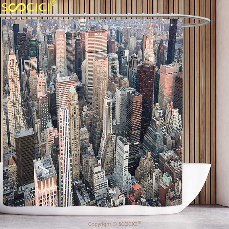 Polyester Shower Curtain Urban USA New York Cityscape at Sunset Skyscrapers Panoramic Metropolis Architectural Photo Multicolor