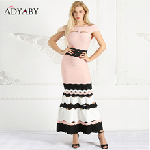 Women Mermaid Dresses Long Summer 2019 Off Shoulder Maxi Dress Bandage Ruffle Hollow Out Striped Slim Sexy Party Dress Woman
