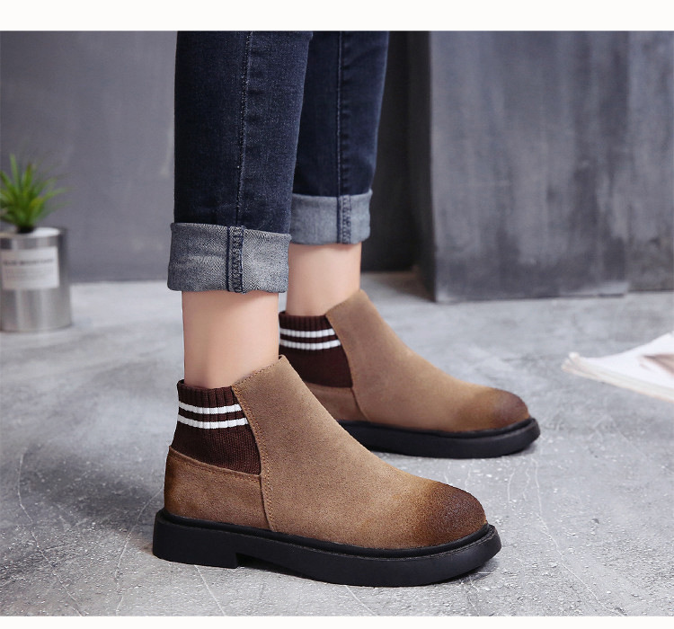 The new autumn 2018 Martin boots flat short tube with restoring ancient ways round head women's boots 47