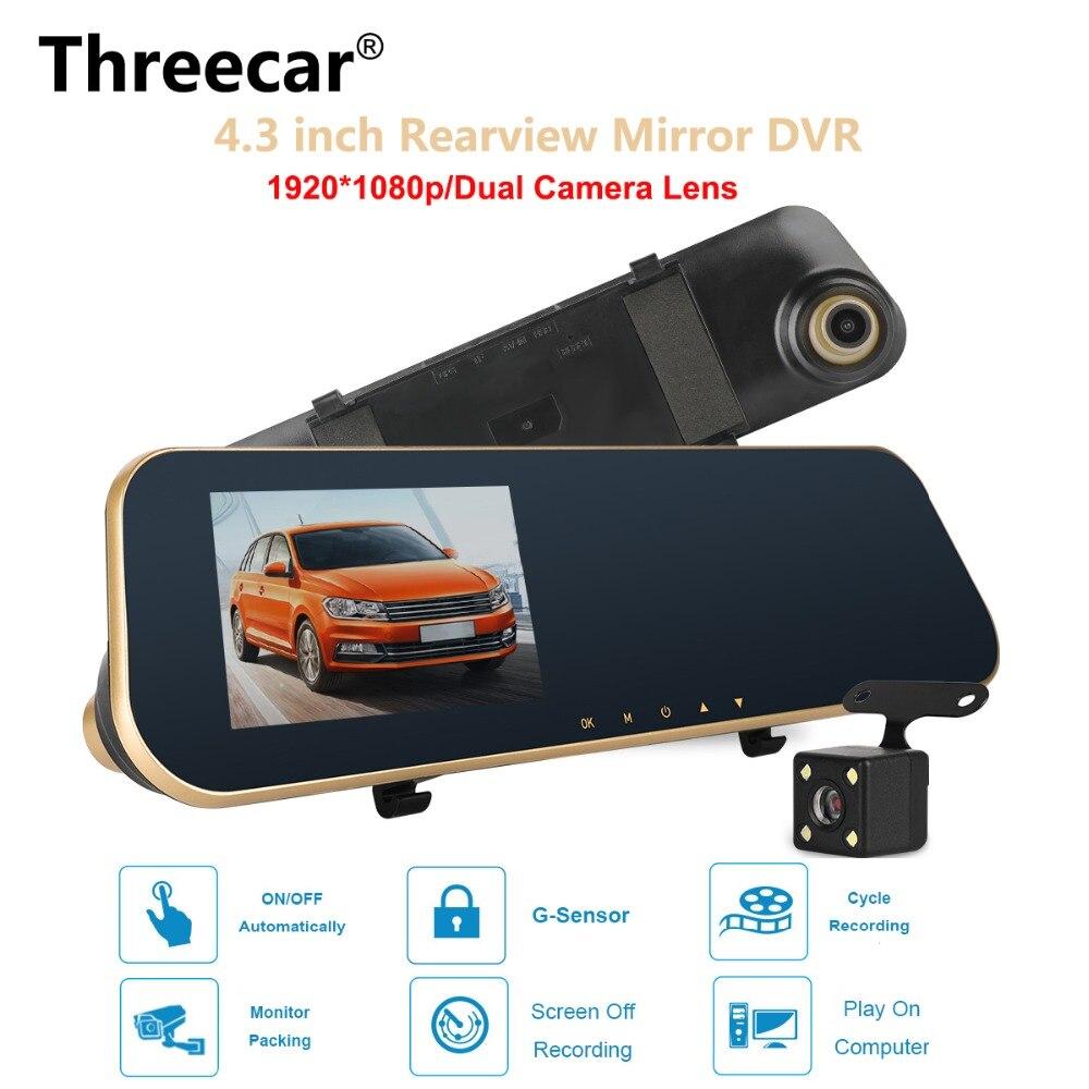 Car Camera Rearview Mirror DVR Dual Lens Dash Cam Recorder Video Registrator Camcorder 4.3 Inch 1080P Night Vision DVR Auto Cam
