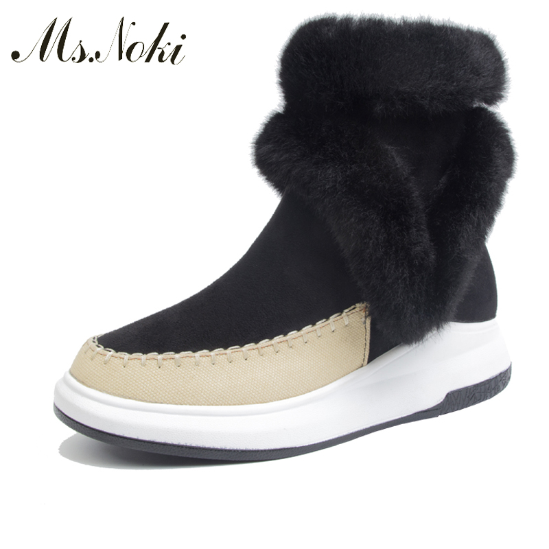 Ms.Noki Fur New 2017 Autumn Winter Fashion Fur Boots Women Wedge Ankle Boots Casual Round Toe Flock shoes for girl snow boots