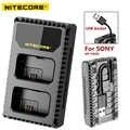 Nitecore USN1 chargeur de caméra de voyage numérique à double emplacement pour Batteries Sony NP-FW50, Compatible avec a6500 a7 a7II a7R a7R2 a7s