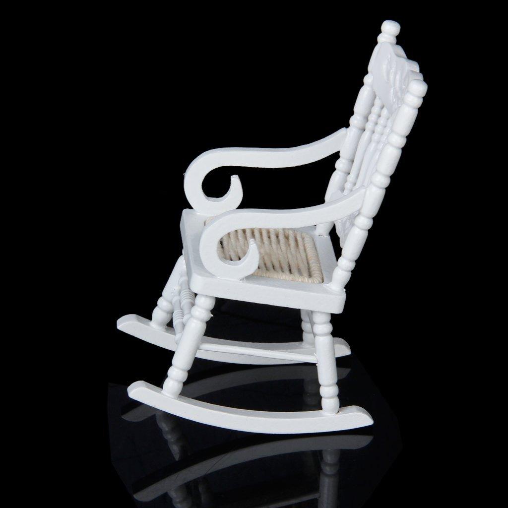 1/12 Miniature Dollhouse Wooden Rocking Chair Model White