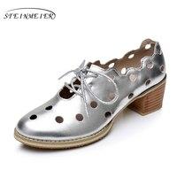 נעלי אישה עור אמיתיות סנדלי בציר מעצב גודל ארה