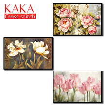 Cross stitch kits,Embroidery needlework sets with printed pattern,11CT canvas for Home Decor Painting,Flowers Full NCKF006