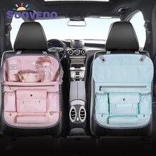 SUNVENO многоцветная Автомобильная сумка на спинку сиденья, тканевая многокарманная сумка для хранения, органайзер, держатель, аксессуар, сумка для подгузников