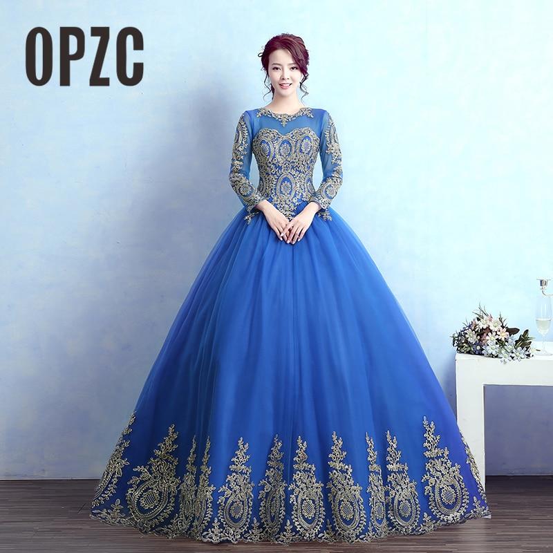 Vestidos De Noiva Royal Blue Vintage Long Sleeves Wedding Dress Gold
