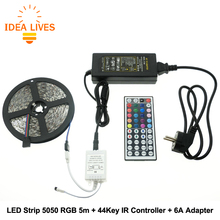 RGB LED Strip 5050 5m + IR 44Key Controller + DC12V 6A Adapter Flexible LED Light RGB Sets.