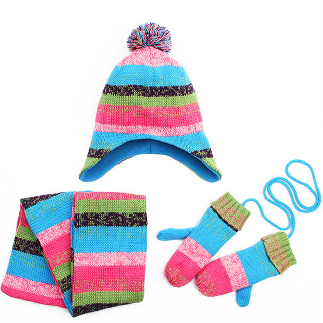 New 2017 Winter Girls Thick Velvet Hat Scarf Glove Set Nice Striped Knitted  Baby Kids Beanie Caps Neck Warmers Gloves 3pcs set 7134194e805c