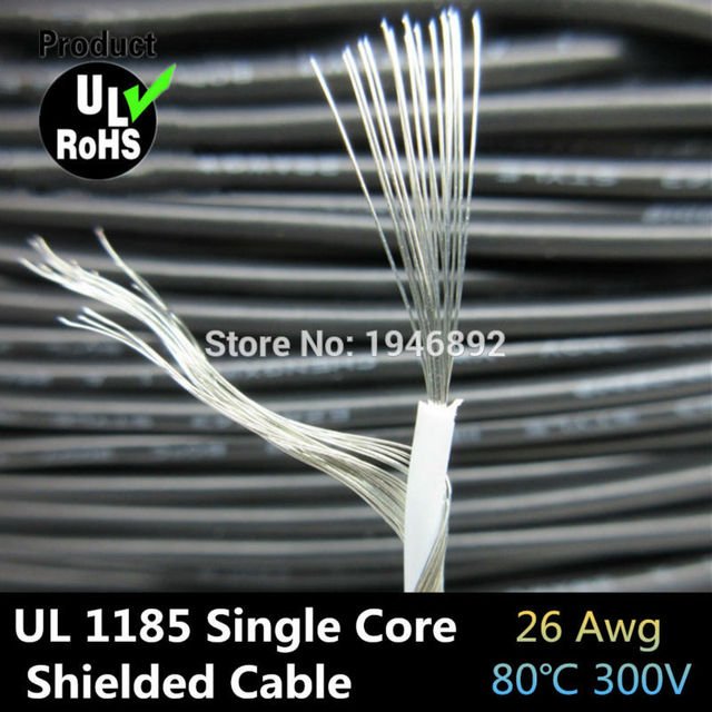 5m UL1185 26AWG Single Core Conductor Tinned copper Sprial Shielded ...