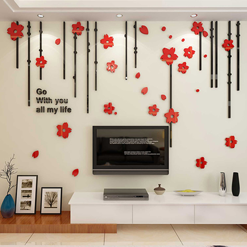 flowers design acrylic stickers diy sticker for living room tv background beauty salon wall decoration