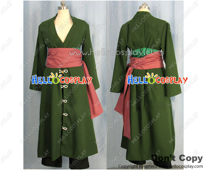 One Piece Cosplay Costume Roronoa Zoro Two Years Later Green Coat H008