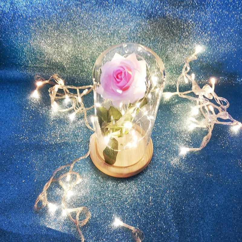 Gold-Plated Red Rose With Led Light In Glass Dome For Wedding Party Mother'S Day Gift Powder