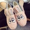 2017 Otoño Invierno Dulce Señoras de Las Mujeres Mujer Lindo Pequeño Conejo Adornan Cálido Algodón Slip-On Mocasines Femeninos Zapatos de Los Planos Zapatos G350