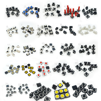 125pcs 25Types/lot Switches Assorted Micro Push Button Tact Switch Reset Mini Leaf Switch SMD DIP 2*4 3*6 4*4 6*6 diy kit el817 el817c dip 4