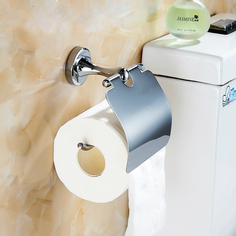 Modern Solid Brass Chrome Toilet Paper Holder Polished Silver Bathroom Tissue Box Roll Holder Mounting Bathroom Hardware sets P0 polished gold solid brass toilet paper holder tissue box luxury high quality wall mounted roll holder toilet accessories sets t1