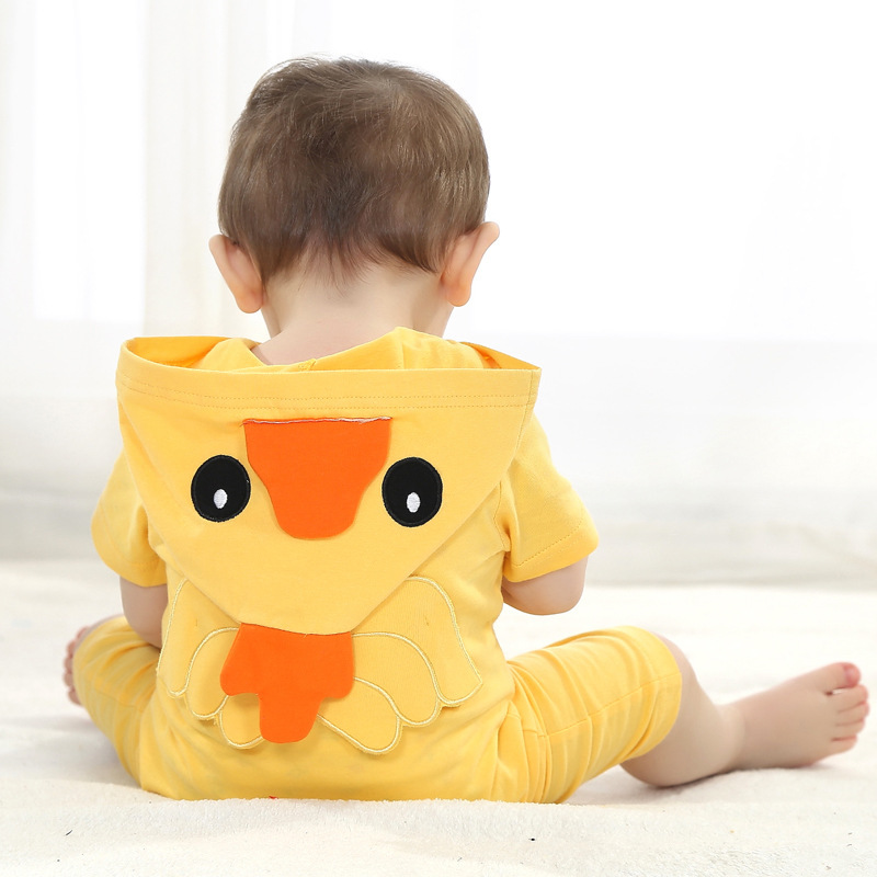 Summer Baby Clothes Short Rompers Cartoon Animal Yellow Duck Cosplay Photo Props Jumpsuit Newborn Infant Sleepers Hooded 2017 new summer newborn baby girls clothes cute cartoon animal cotton rompers infant toddlers short sleeve jumpsuit costumes