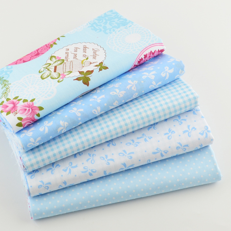 Teramila Cotton Fabric 40cmx50cm 5pcs Blue Fat Quarter Bundle Quiltning Patchwork Tissue Kids Baby Bedding Tekstil Til Syning