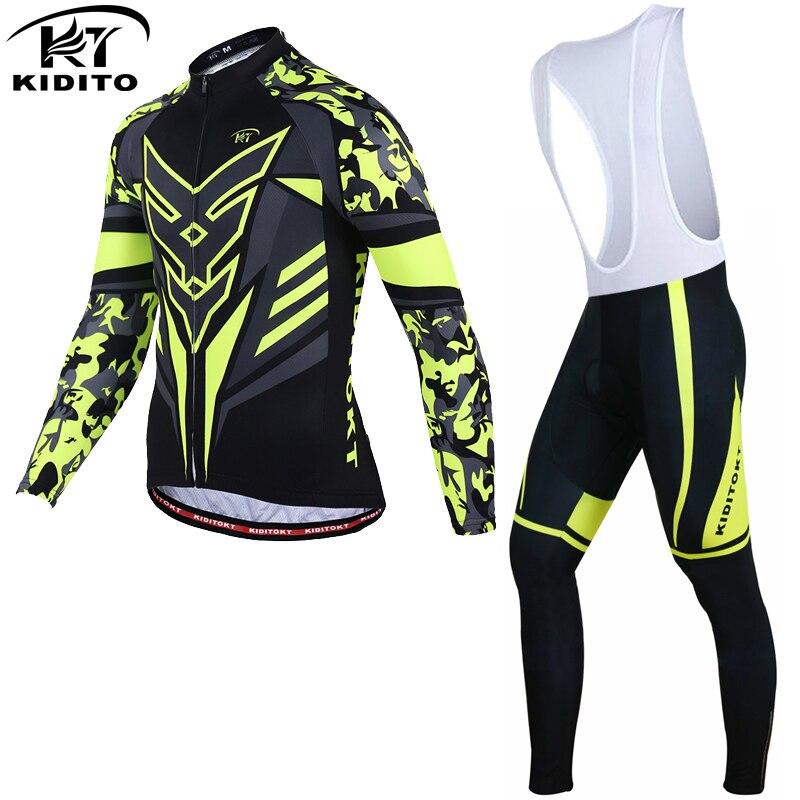 KIDITOKT Flour Yellow Winter Thermal Fleece Cycling Jersey Sets Racing Bike Cycling Suit Mountian Bicycle Cycling