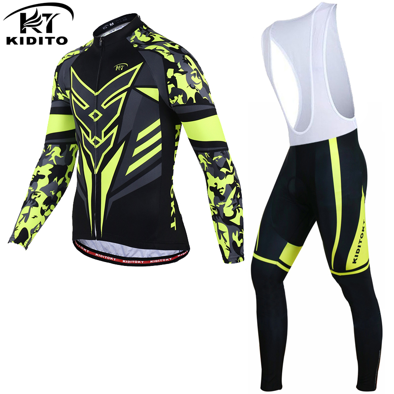 KIDITOKT Flour Yellow Winter Thermal Fleece Cycling Jersey Sets Racing Bike Cycling Suit Mountian Bicycle Cycling Clothing|winter thermal|fleece cycling|bicycle clothes - title=