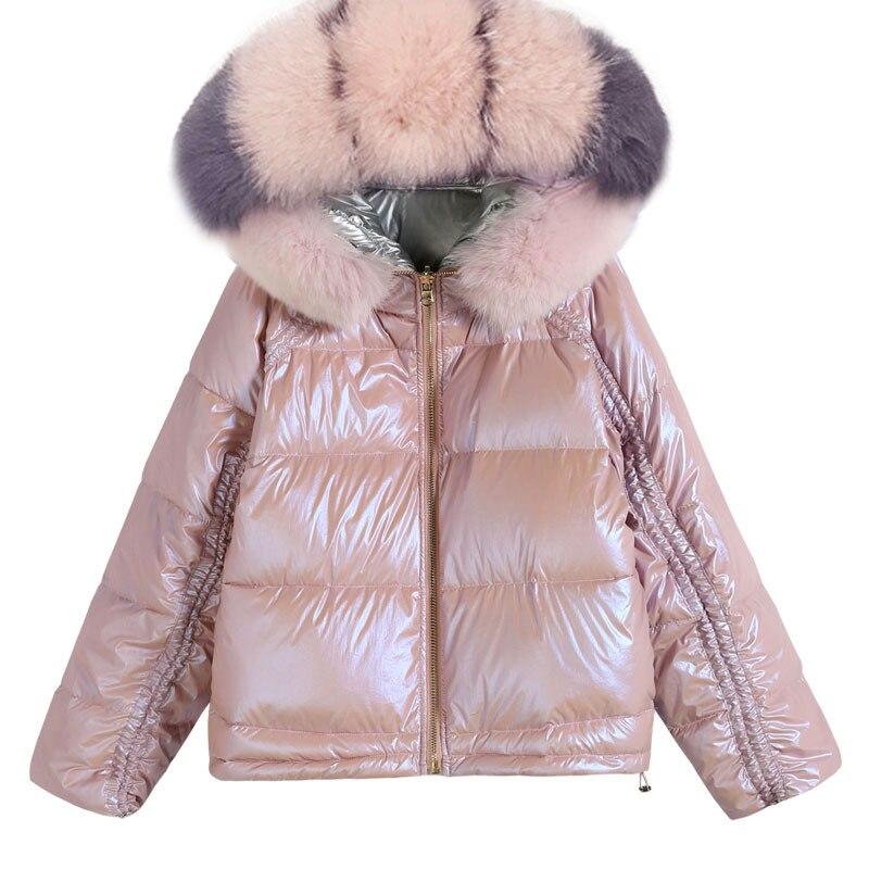 Grueso Invierno Marca Con Capucha Mujer La Rosado Corea Fox Corto Algodón  Las Abrigos Chaqueta Abajo ... d1f7f9eb6e04