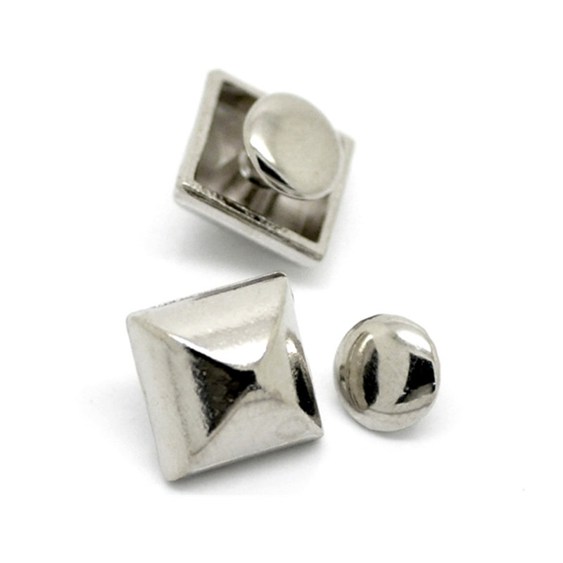 30Sets Punk Square Pyramid Spike Rivets Studs Spots Silver Tone For Crafts Handbags Clothes Shoes 9mmx9mm 7mm