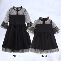 Black Lace Dress Girls Mother Daughter Dresses Boutique Kids Clothing Parent Child Outfits Mommy and Me Family Matching Clothes