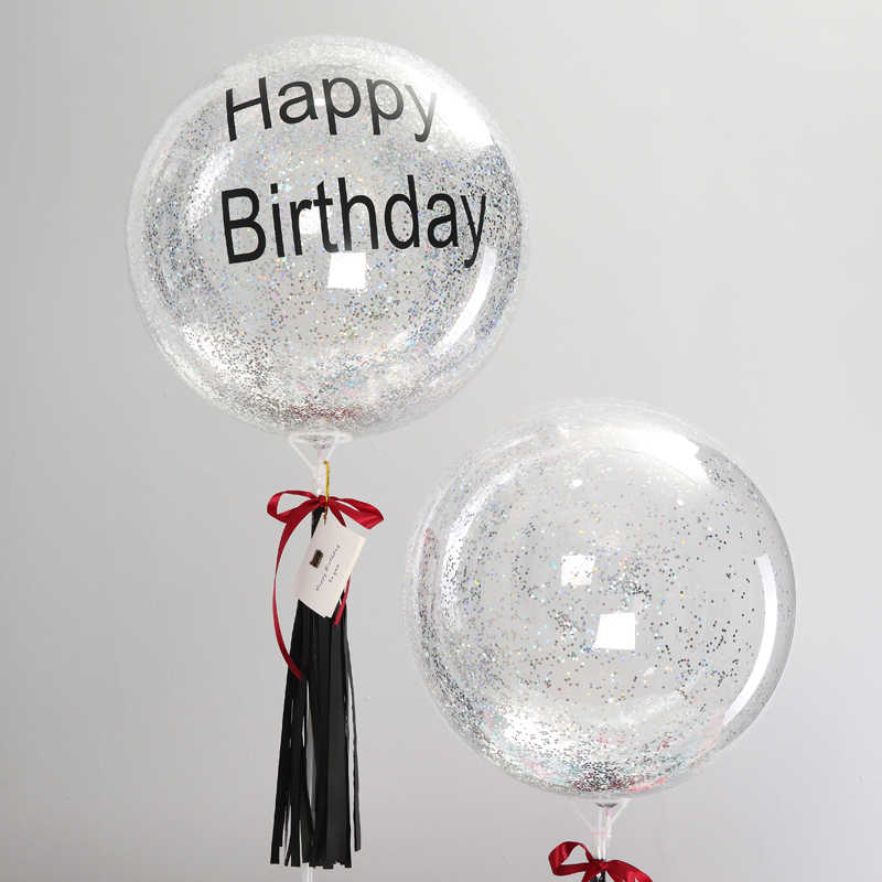 Happy Birthday For Boyfriend Husband Father Gift Silver Glitter Bubble Balloon 18inch Non Helium