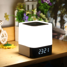 Фотография Portable Wireless Bluetooth Speaker With Touch Sensor Led Lamp Light Alarm Clock TF Card AUX MP3 Player Hands-free Loudspeakers