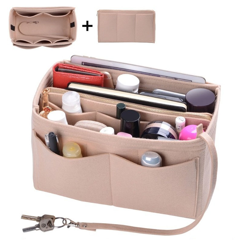 Purse Organizer Insert Makeup Handbag , Felt Bag Organizer With Zipper, Handbag & Tote Shaper, Fit Cosmetic Bags Never Full,Tote