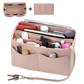 Purse Organizer Insert Makeup Handbag , Felt Bag organizer with zipper, Handbag & Tote Shaper, Fit Cosmetic Bags Never Full,Tote 1