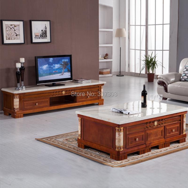 Marble Coffee Table Living Room Tables Traditional Style Sofa Matched With Two Small Chairs Wooden 816