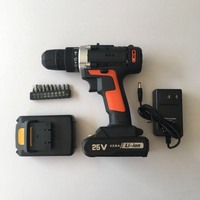 25V śrubokręt 3.0Ah bezprzewodowy elektryczny klucz udarowy zestaw wiertła 3/8 ''śrubokręt 1/2 sztuk akumulator litowo jonowy ręcznie wiertarka elektryczna w Wiertarki elektryczne od Narzędzia na