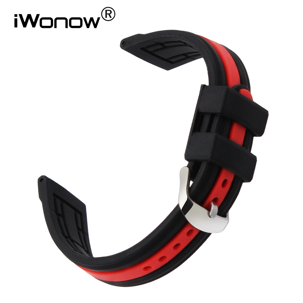 где купить Silicone Rubber Watchband 19mm 20mm 21mm 22mm 23mm 24mm Universal Watch Band Wrist Strap Sports Belt Bracelet Black Red + Tool по лучшей цене