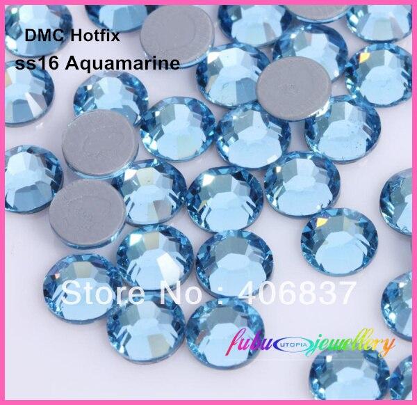 Free Shipping! 1440pcs/Lot, ss16 (3.8-4.0mm) High Quality DMC Aquamarine Iron On Rhinestones / Hot fix Rhinestones