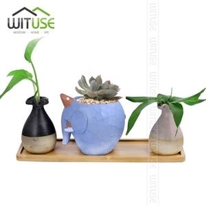 Image 5 - WITUSE maceta de cerámica con soporte de bambú para plantas suculentas, soporte para plantas de interior, platillos, bonsái, maceta de escritorio, bandeja para plantas de Bambú