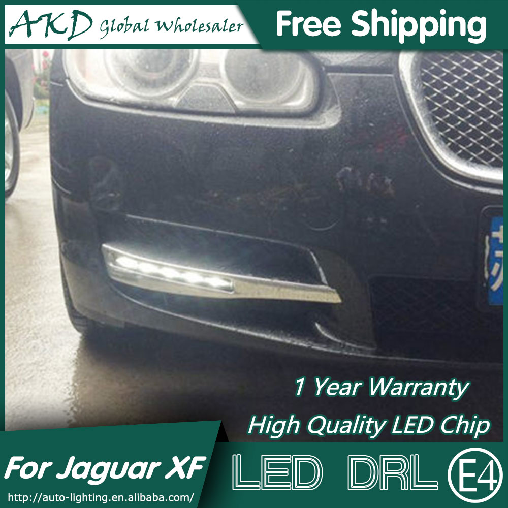 AKD Car Styling LED Fog Lamp for Jaguar XF DRL 2010-2012 Jaguar XF DRL Running Light Fog Light Parking Accessories hot sale abs chromed front behind fog lamp cover 2pcs set car accessories for volkswagen vw tiguan 2010 2011 2012 2013