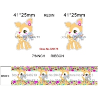 4 styles Japan printed cartoon grosgrain ribbon and resin sets 50yard ribbon and 50pcs resin 1Pack JJOB44