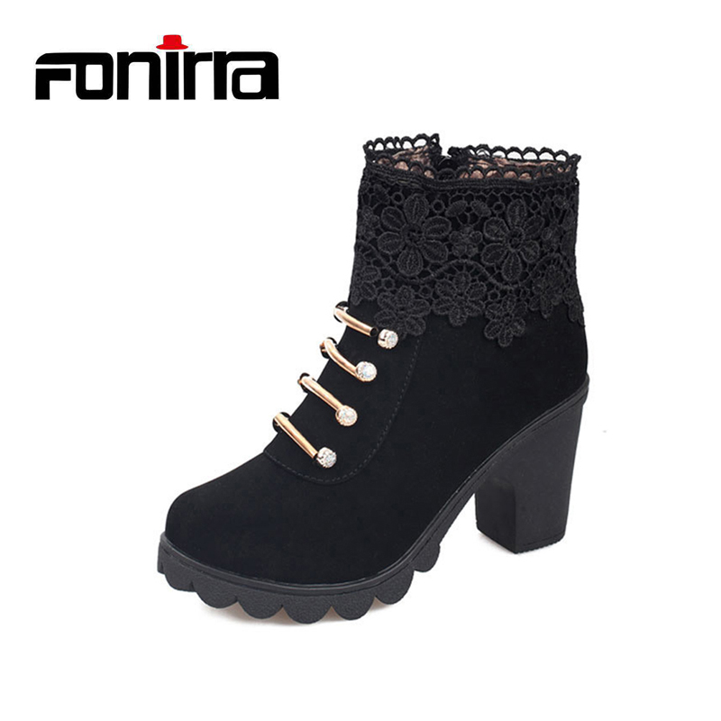 FONIRRA Fashion Women Boots Round Toe Ankle Boots PU Leather Sexy Lace Ladies High Heels Boots Platform Ladies Shoes 698
