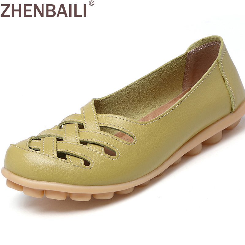 Новое поступление Летние женские босоножки Обувь Мода 2017 г. Пояса из натуральной кожи Повседневное Лоферы Туфли без каблуков с вырезами размеры 34–44