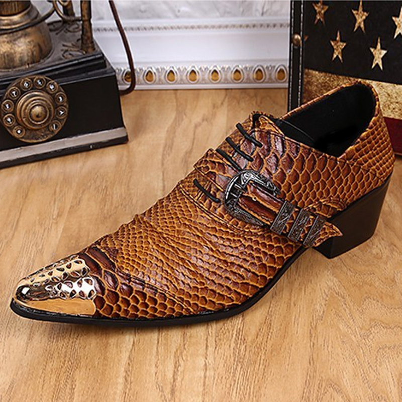 Plus Size 2018 Luxury Alligator Pointed Toe Man Metal Tipped Oxfords Genuine Leather High Heels Men's Formal Dress Shoes SL229 plus size 2016 new formal brand genuine leather high heels pointed toe oxfords punk rock men s wolf print flats shoes fpt314