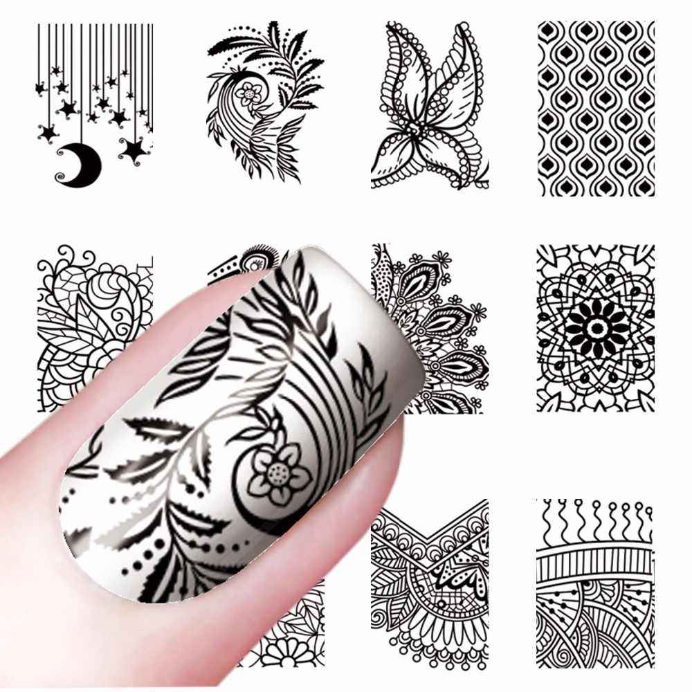 WUF 1 Sheet Totem Flower Designs Nail Art Water Transfer Sticker Watermark Decals DIY Nail Beauty Tips Decoration Wraps Tools