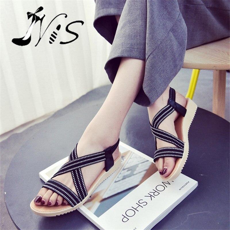 NIS Women Canvas Sandals, Black/Beige/Blue Striped Elastic Slip-on Shoes, Ladies Summer Beach Sandal, Anti-slip Flats/Flat Shoes