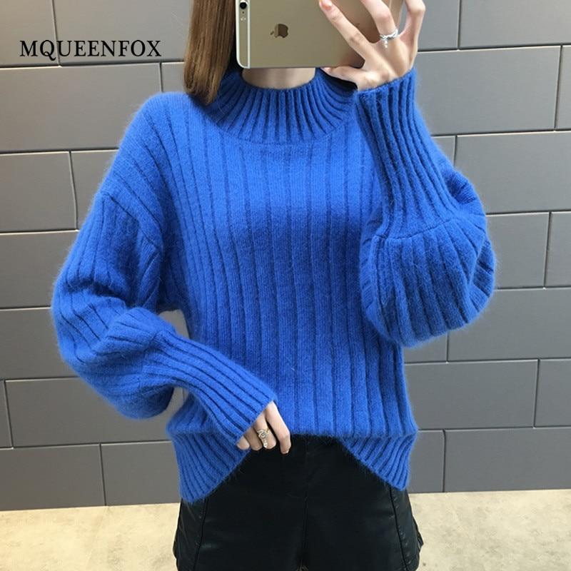 Autumn Winter Women Sweater 2019 new Lantern Sleeve Knitting Pullovers Women Jumper Casual blue Loose Turtleneck Sweater Female knitting