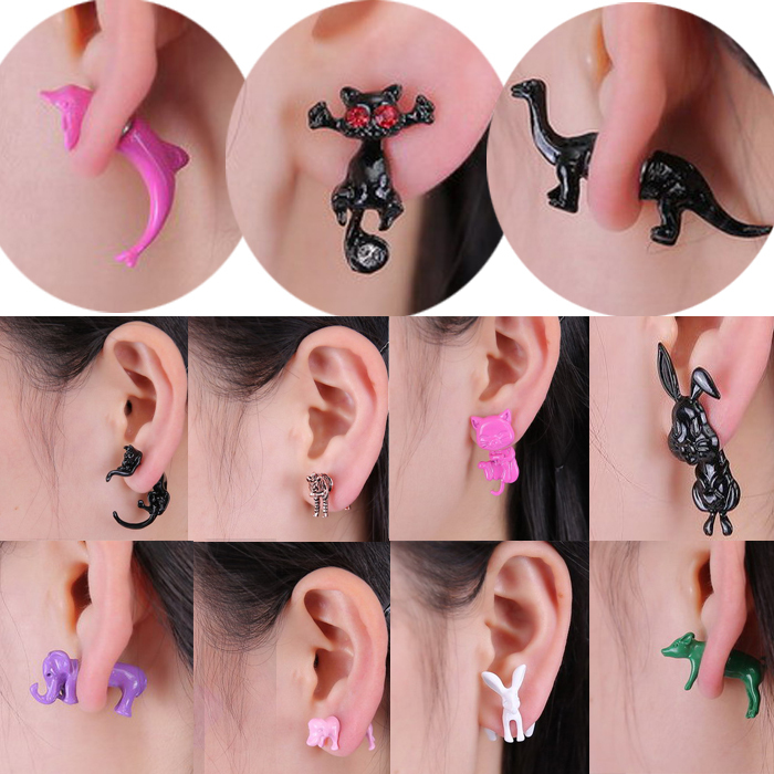 New Fashion 12 styles 3D lovely dog Dolphin Zebra Elephant Rabbit Animals stud earring for women