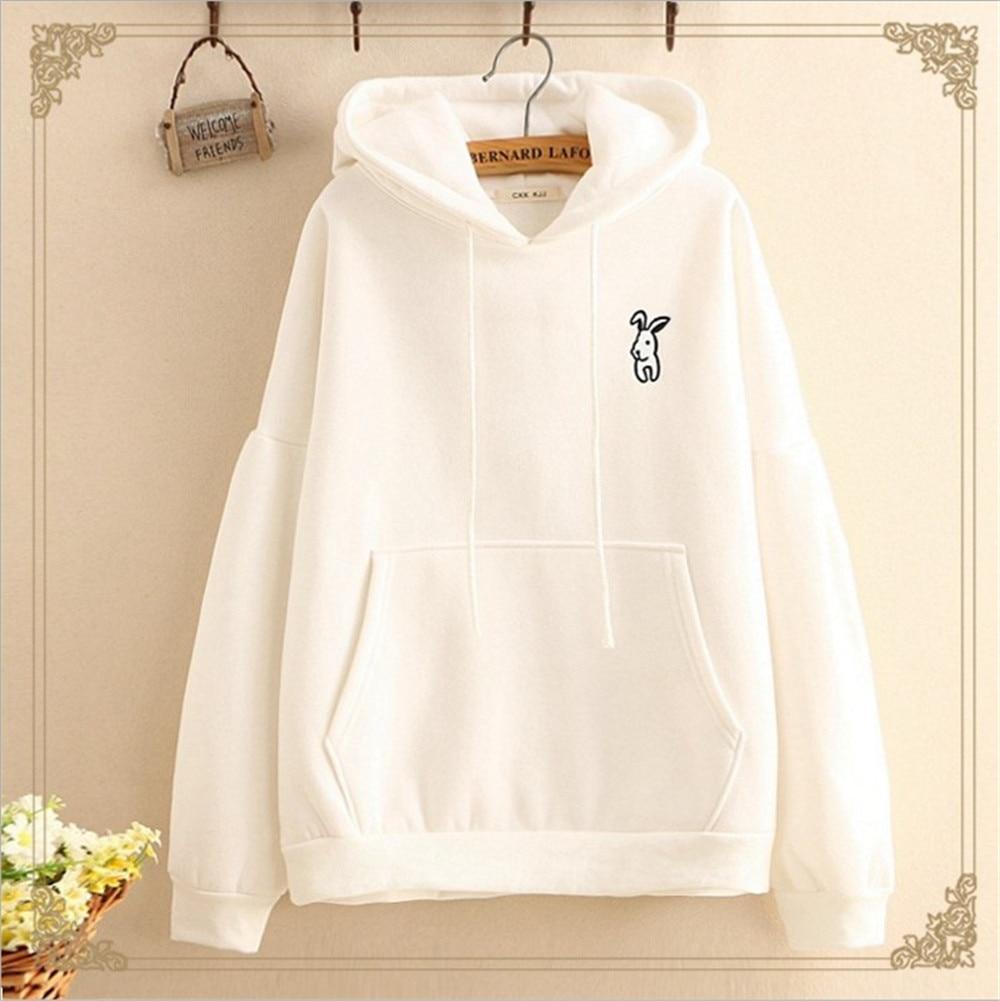 2019 Harajuku Hoodies Women Long Sleeve Rabbit Embroidered Sweatshirt Pullover Autumn Lovely Rabbit Ears Jumper Sweet Cartoon in Hoodies amp Sweatshirts from Women 39 s Clothing
