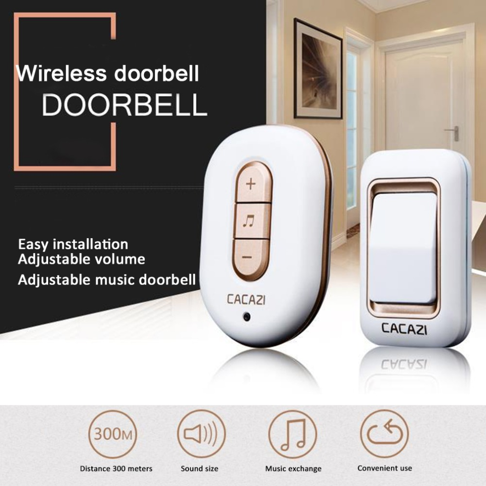 CACAZI C-9918,1 Emitter + 1 Receiver AC 110V-220V 300M Long-Range Wireless DoorBell,Mp3 DoorBell,48 Music,Wireless Door Chime