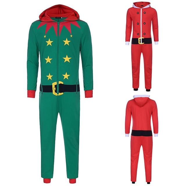 1e4f6949e77 Adult Men   Women Christmas Elf Costume Funny X-mas Santa Catsuit Outfit  Hooded Bodysuit