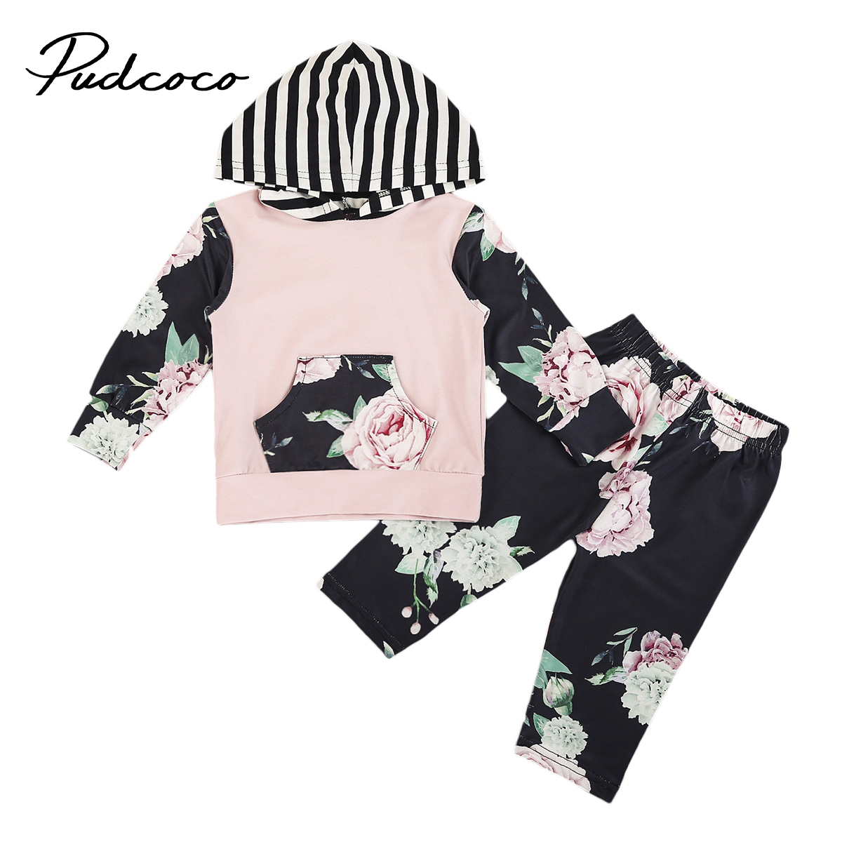 Pudcoco Newborn Infant Baby Boys Girls Floral Clothes Cotton Long Sleeve Hooded Tops+Pants Outfits Set 0-24 Months Helen115